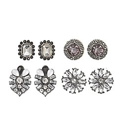 Relativity® Four Pairs of Hematite Tone Earrings