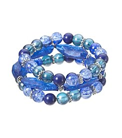 Studio Works® Silvertone Three Row Blue Beaded Stretch Bracelet