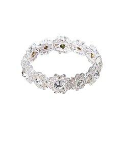 Napier® Silvertone Crystal Stretch Bracelet