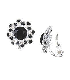 Napier® Black Crystal Clip Earrings