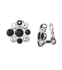 Napier® Black Stone Cluster Clip Earrings