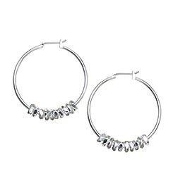 Napier® Large Beaded Hoop Earrings
