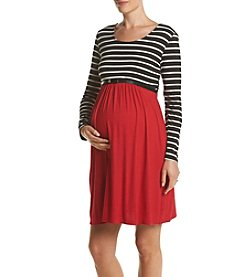 Three Seasons Maternity™ Stripe Solid Mix Dress