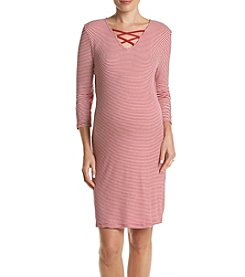 Three Seasons Maternity™ Criss Cross Stripe Dress