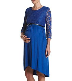 Three Seasons Maternity™ Solid Lace Bodice High Low Hem Dress