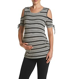 Three Seasons Maternity™ Cold Shoulder Stripe Knit Top