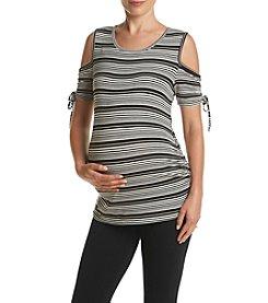 Three Seasons Maternity™ Cold Shoulder Stripe Knit Top