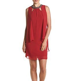 S.L. Fashions Chiffon Overlay Dress