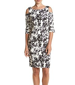 Jessica Howard® Matte Floral Cold Shoulder Dress