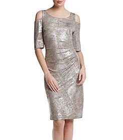 Connected® Cold Shoulder Metallic Dress