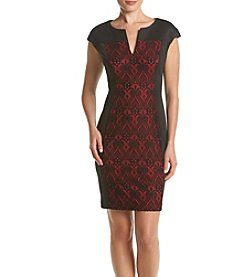 Connected® Lace Insert Panel Split V-Neck Dress