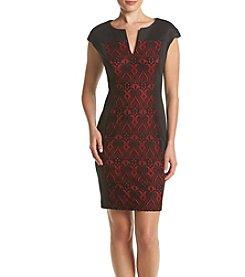 Connected® Lace Insert Panel Split V-Neck Dress