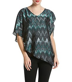 AGB® Ikat Print Popover Top With Necklace