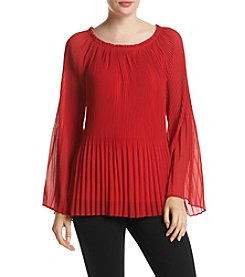 AGB® Pleated Bell Sleeve Top