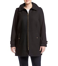 MICHAEL Michael Kors® Plus Size Club Collar Long Walker Coat