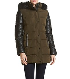Calvin Klein Faux Leather Mixed Media Down Coat
