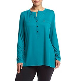Jones New York Plus Size Relaxed Fit Henley Top