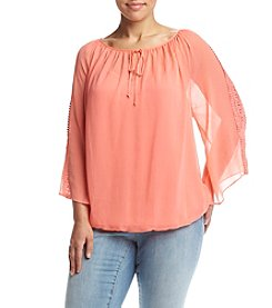 AGB® Plus Size Lace Sleeve Peasant Top