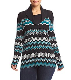 Jones New York® Plus Size Chevron Print Pullover Sweater