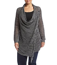 Oneworld® Plus Size Fringe Trim Cozy Sweater