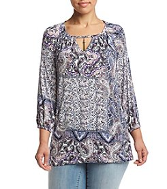Oneworld® Plus Size Mixed Paisley Print Peasant Top