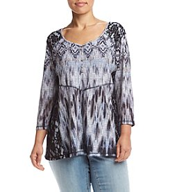 Oneworld® Plus Size Printed Flowy Henley Top