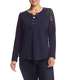 Democracy Plus Size Lace Sleeve Henley Top