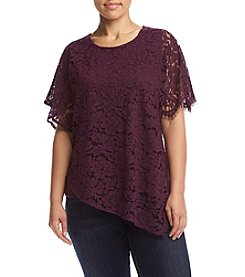 Democracy Plus Size Asymmetrical Lace Top