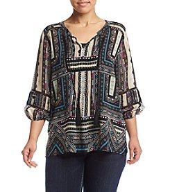 Democracy Plus Size Peasant Top With Pintucking
