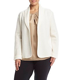 Kasper® Plus Size Boiled Wool Drape Cardigan