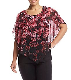 AGB® Plus Size Floral Print Popover Top