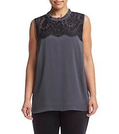 AGB® Plus Size Lace Detail Tank