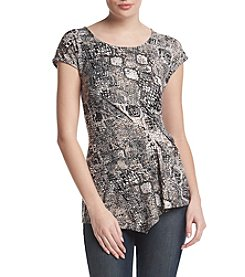 Relativity® Printed Side Drape Top