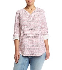 Relativity® Plus Size Roll Tab Sleeve Striped Henley Top
