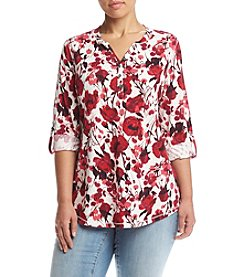 Relativity® Plus Size Roll Tab Sleeve Henley Top