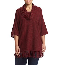 Relativity® Plus Size Cowl Neck Fringe Sweater