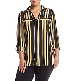 Relativity® Plus Size Striped Utility Blouse