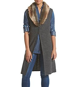 Nine West® Faux Fur Collar Sweater Vest