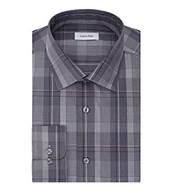 Calvin Klein Men's Plaid Spread Collar Dress Shirt