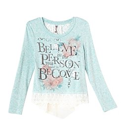 Beautees Girls' 7-16 Long Sleeve Believe Lace Hem Top