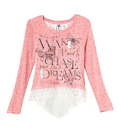 Beautees Girls' 7-16 Long Sleeve Dreams Lace Hem Top