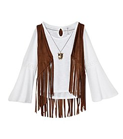 Beautees Girls' 7-16 Long Sleeve Tee with Fringe Vest