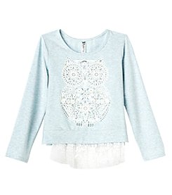 Beautees Girls' 7-16 Owl Hi-Lo Lace Hem Top