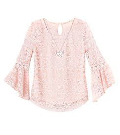 Beautees Girls' 7-16 Bell Sleeve Lace Top