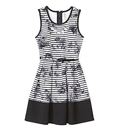 Beautees Girls' 7-16 Belted Floral Stripe Fit & Flare Dress