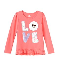 Mix & Match Girls' 2T-6X Love Ruffle Hem Tee