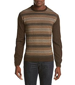 Weatherproof® Men's Beige & Brown Stripe Crew Neck Sweater