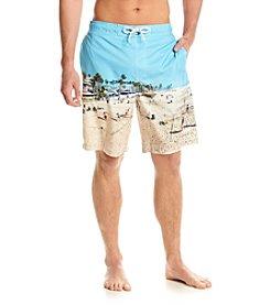 Paradise Collection® Men's Beach Scene Swim Trunks