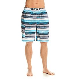Paradise Collection® Men's Turquoise Stripe Swim Trunks