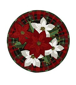 Nourison Poinsettia Plaid Round Rug